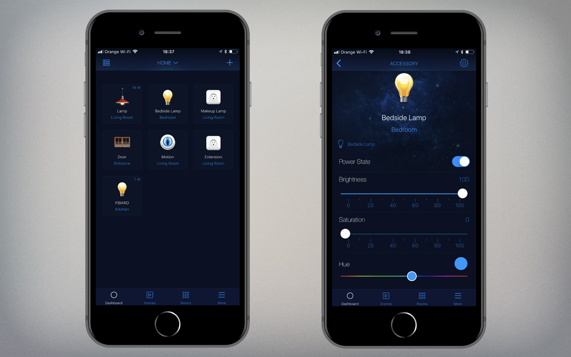 Fibaro for HomeKit Devices app on an iPhone 8 Plus